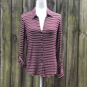 Tops - love, fire  burgundy/off white striped long sleeve